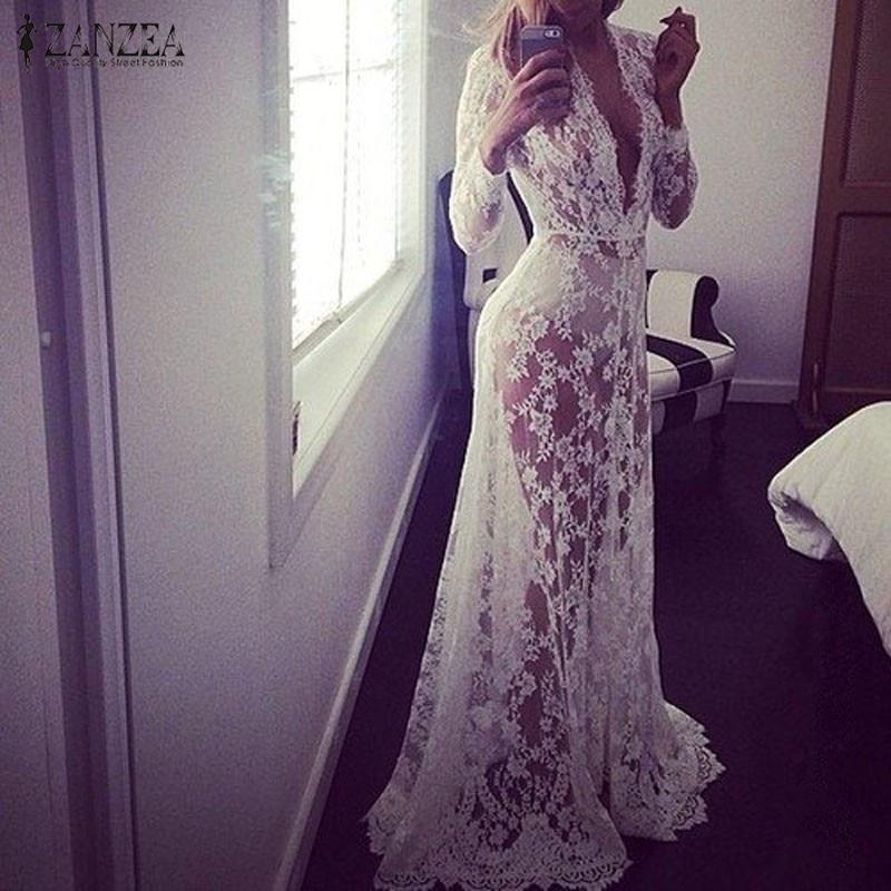 2019; Европейский стиль; сезон лето ZANZEA женское соблазнительное кружевное вышивка Макси одноцветное белое платье с длинным рукавом с глубоки...