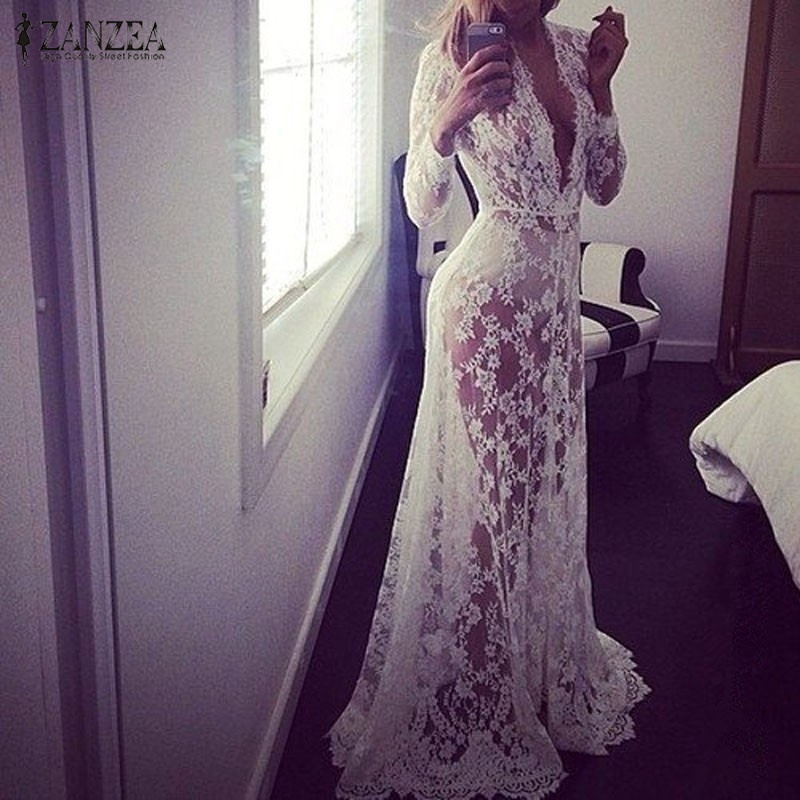 2019 Summer European ZANZEA Womens Sexy Lace Embroidery Maxi Solid White Dress Long Sleeve Deep V Neck Vestidos Plus Size