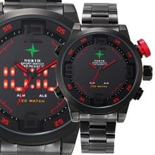 Masculino Reloj Deportivo Analógico-Digital reloj LED de Acero Inoxidable Resistente Al Agua Reloj de pulsera de Cuarzo Militar 2016 Hombres Del Reloj Del Deporte