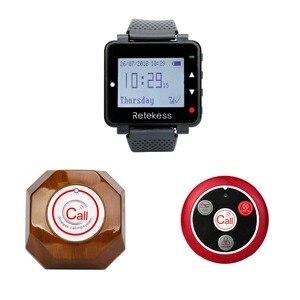 Image 5 - RETEKESS kablosuz çağrı sistemi restoran çağrı Beeper 1 izle alıcı + 1 düğmesi mutfak + 5 çağrı düğmesi müşteriler için