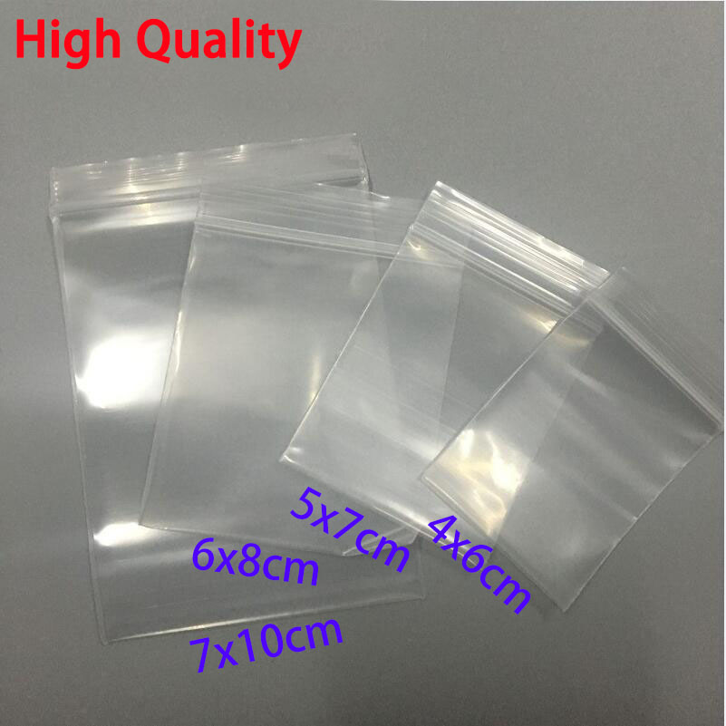 100pcs Thick Transparent Small Zip lock Plastic Bags Baggies Ziplock Zip Zipped Lock Reclosable Clear Poly Bag Food Storage Bag wire