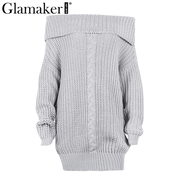 73d1ca7ca7 Glamaker Off shoulder knitted sweater dress women Knitting oversized short  dress 2018 Spring tricot jumper pullover female