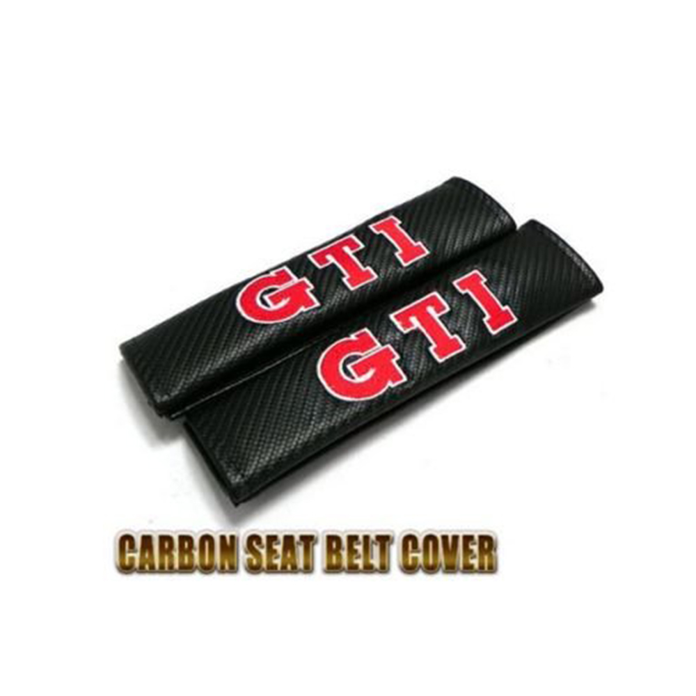 Car styling GTI Seat Belt Shoulder Pad Carbon Fiber PU Leather For Volkswagen POLO Jetta Golf 4 5 6 7 MK1 MK2 MK3 MK4 MK5 MK6
