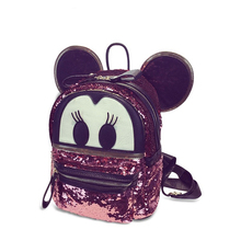 Trendy Fashion Paillette Travel Bag Women Occident Style Designer Sequins Backpack Large Capacity Cute Cartoon Mickey Backpack
