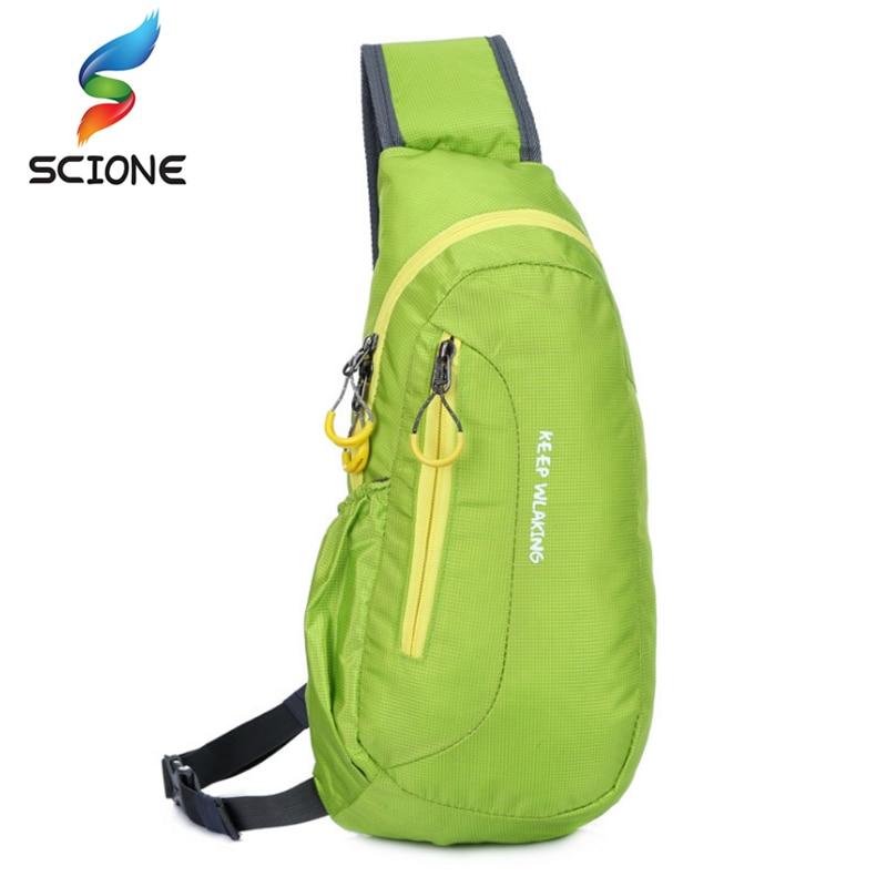 Heiße Marke Neue Unisex Wasserdichte Nylon Brust Tasche Männer Frauen Laufen Schulter Tasche Diagonal Outdoor Sport Gym Bag säcke de natürlich