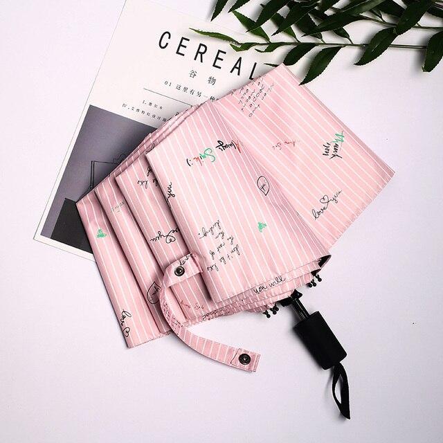 Полосой слова портативный зонтик дождь женщин складные зонты женский зонтик от солнца прекрасный зонтик карманный мини-зонтик Бесплатная доставка