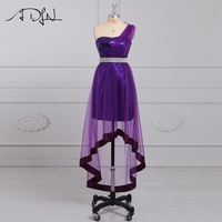 ADLN Chic Purple Cocktail Dresses One shoulder High Low Party Gown Sequin Homecoming Wear