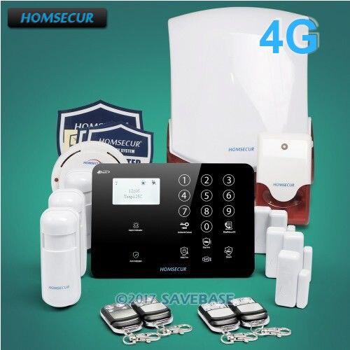 HOMSECUR Wireless 4G/GSM SMS Autodial Burglar Alarm System+Wireless Flash Siren