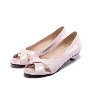 Image 5 - Vendita di grandi dimensioni 34 43 sandali da donna estivi Multi colore con zeppa piccola fiore vernice punta aperta cono tacchi Casual 9 3