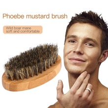 Msmask 8cm Men Boar Hair Bristle Beard Brush Shaving Comb Face Massage Handmade Yellow Mustache Brush Beauty Care Drop shipping