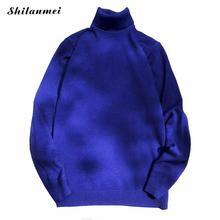 New Fashion Blue Gray Plus Size 5xl Men'S Casual Turtleneck Knitted Sweaters Long Sleeve Solid Loose Pullovers Trui Heren
