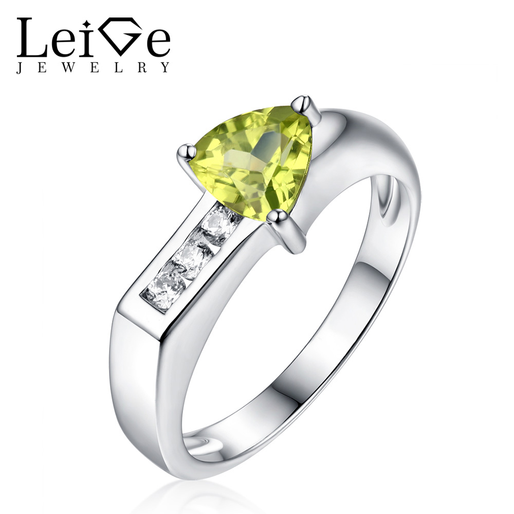 Leige Jewelry Silver Peridot Ring Green Triangle Cut Gemstone Rings for Women Customized Romantic Wedding Anniversary Gift
