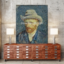 Vicent Van Gogh Self Portrait with Grey Hat Canvas Wall Art Printed Paintings for Bedroom Office Decor Wholesale