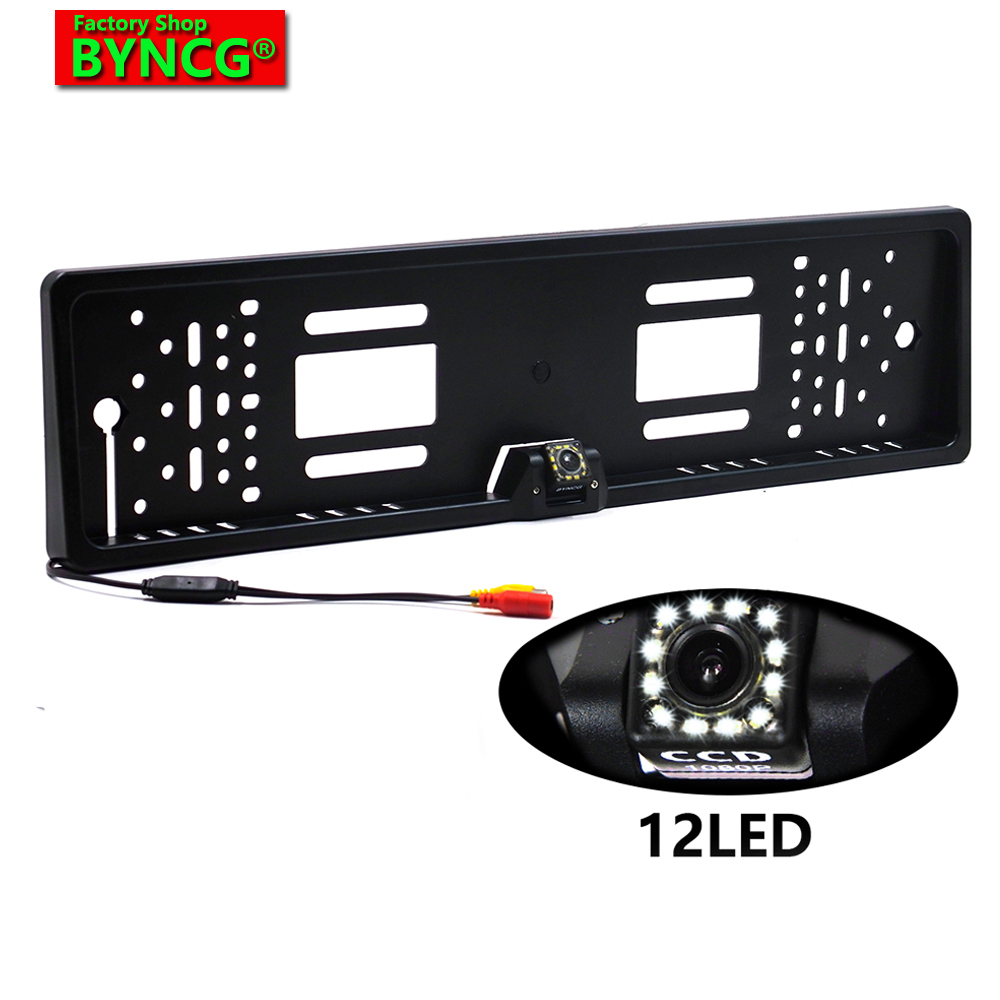 BYNCG 12LEDs 2018 New Arrival 170 European Car License Plate Frame Auto Reverse Rear View Backup Camera 12 LEDs Universal CCD