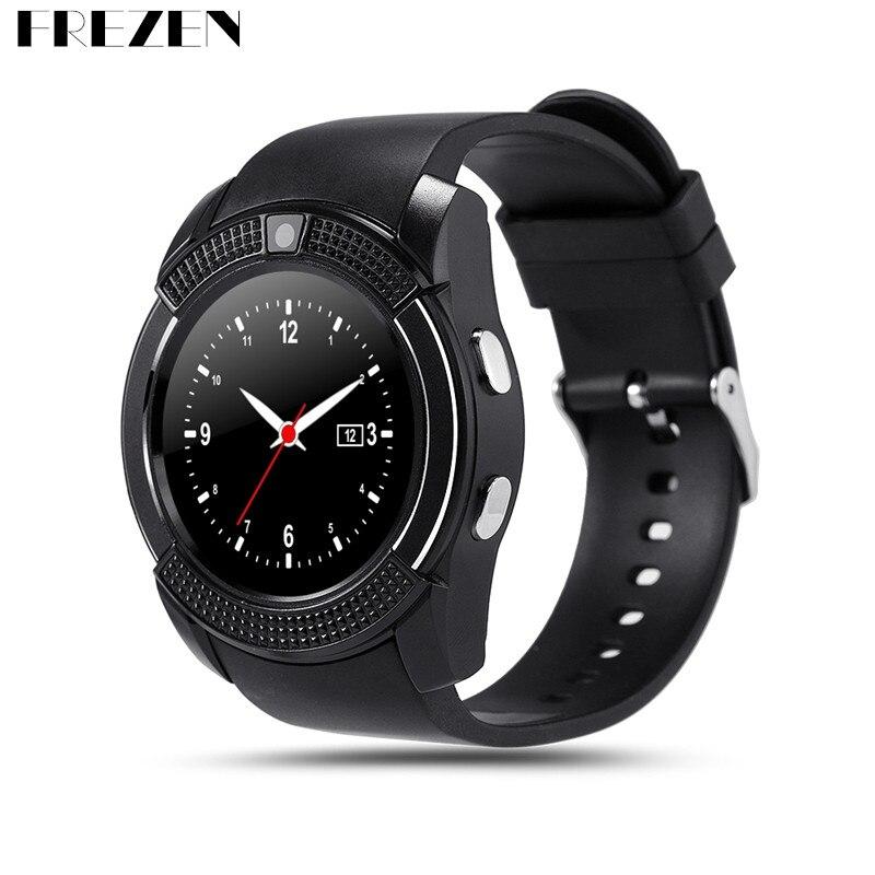 FREZEN Smart Watch F-V8 Wristwatch Sim TF Card Slot Bluetooth Sport Clock 0.3M Camera MTK6261D Smartwatch For Android Phone