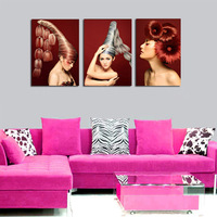 3 Piece Modern Art Pictures Figure Fashion Women Hairstyle Print Oil Painting On Canvas For Beauty Salon Hotel Decor Not Framed