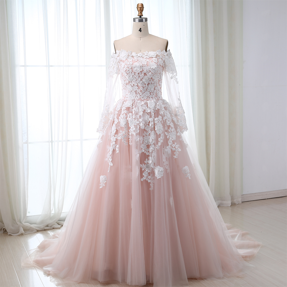 2019 Pink Ball Gown Wedding Dresses With Long Sleeves Off