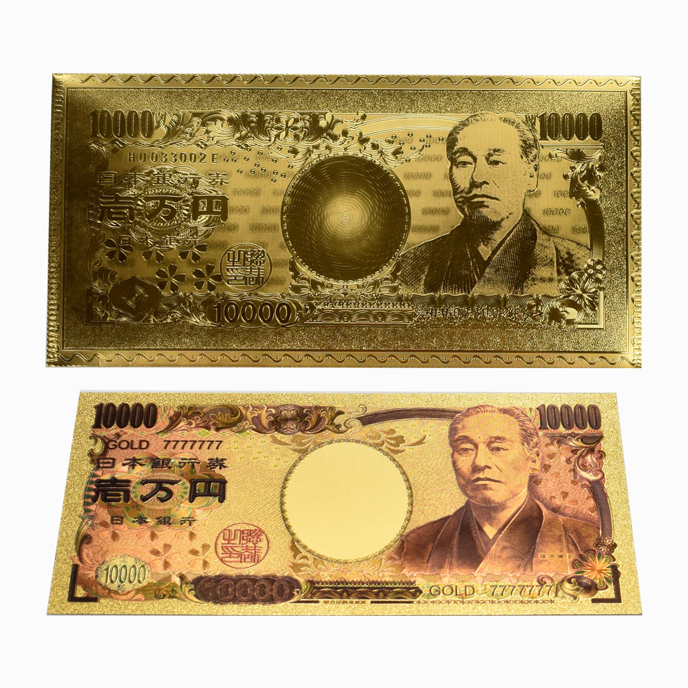 Japan 10000 Dollar Gold Foil Collection Banknotes Colorful printing Fake Money for Souvenir Gift Dropshiping