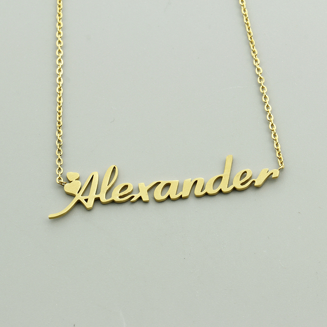 Handmade custom script name pendant necklace personalized nameplate handmade custom script name pendant necklace personalized nameplate letters necklace christmas gift jewelry for children 3 aloadofball Images