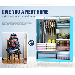 Image 4 - خزائن قماش متعدد الاستخدامات خزانة بانوراما طي الملابس خزانة الكرتون ثلاثية الأبعاد خزانة خزانة صغيرة خزانة