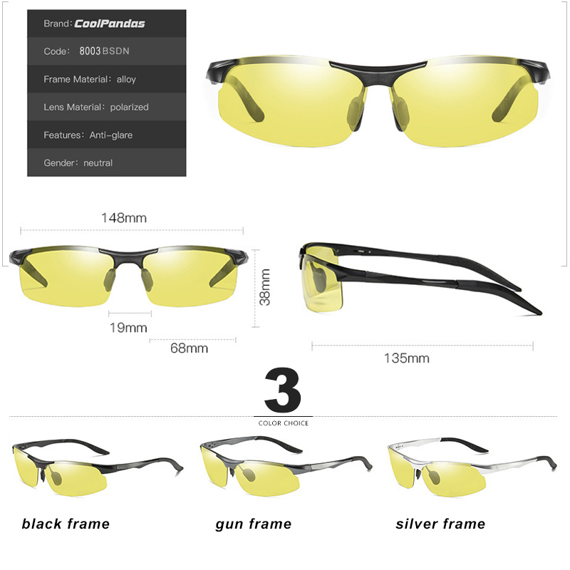 Aluminum Magnesium Photochromic Polarized Sunglasses Men Driving Glasses Day Night Vision Driver Goggles Oculos De Sol Masculino 5