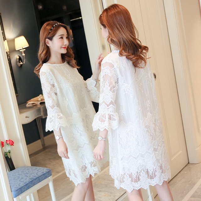 d3e437832e717 US $20.77 45% OFF Maternity Clothing Lace 2018 Formal Pregnancy Dress  Embroidery Fashion Lace Maternity Clothes For Pregnant Women Premama-in  Dresses ...