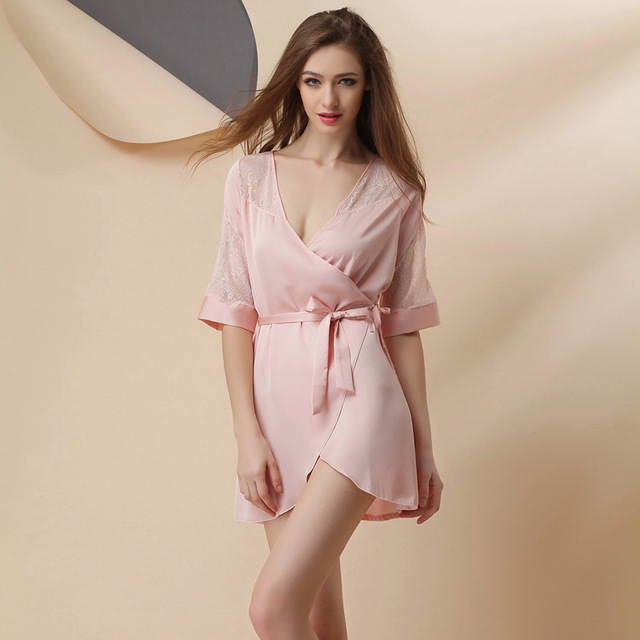9898bbbce8 Women's Summer Style Half Sleeve Peignoir Satin Robe/ Female Sexy Bath Robes/  Dressing Gown/ Sleepwear/ Robes for Women