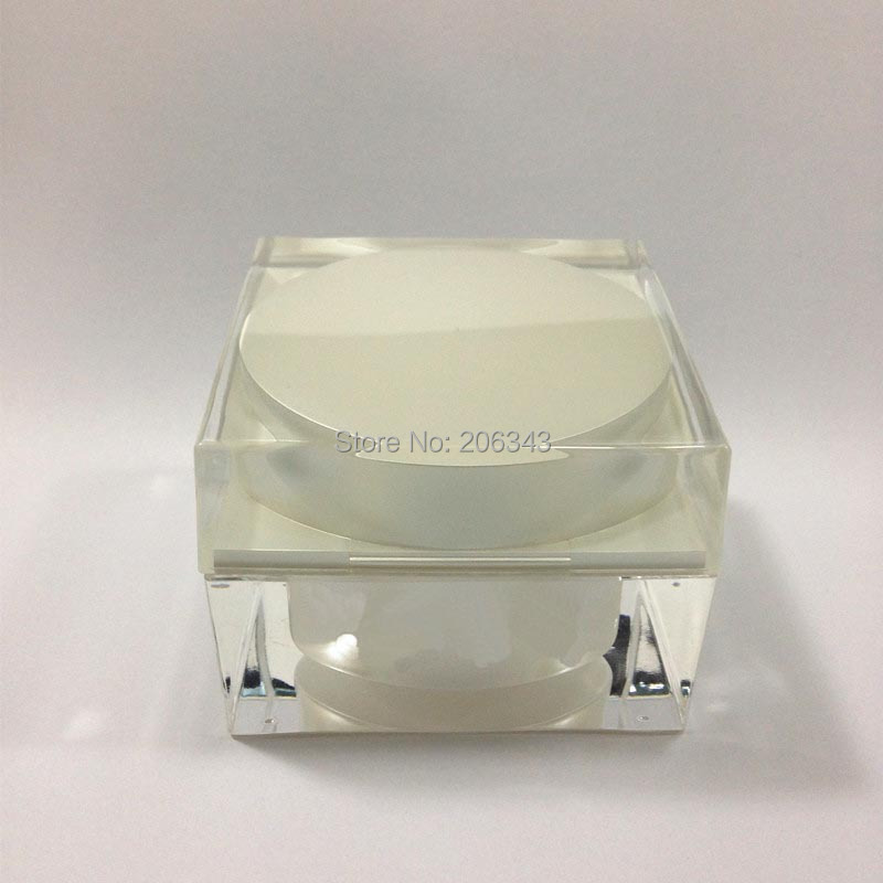 50G pearl white acrylic square shape cream bottle cosmetic container cream jar Cosmetic Jar Cosmetic Packaging