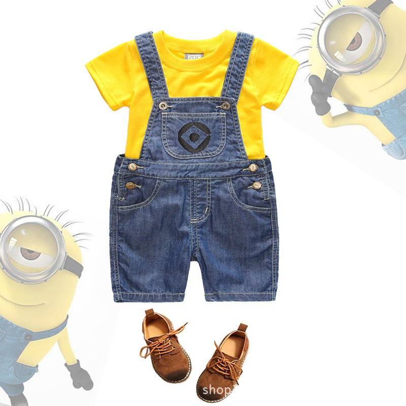 Minions baby denim overalls kids overalls suit cotton t for Minion clothespins
