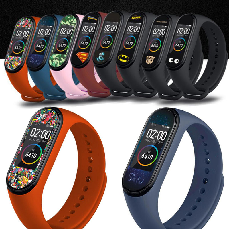 Image 1 - Cool Colorful Marvel Super hero Protective Film Guard For Xiaomi Mi Band Miband 4 Band4 Miband4 NFC Full Screen Protector Cover-in Smart Accessories from Consumer Electronics