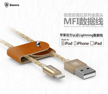 Brand Baseus Antila MFI Metal leather 1M Mirco usb date mobile phone cable for iphone6 6s