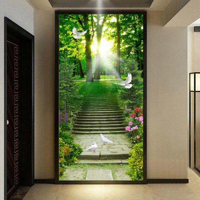 hermosa naturaleza flores paloma escalera de entrada mural living room hotel moderno pared del ajuste del
