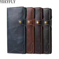 Luxury Oil Wax Imported 100 Genuine Leather Wallet Case For Samsung Galaxy S9 Plus Simple Buttons