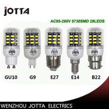 LED Bulb Lights 28LEDS/50LEDS/64LEDS 5730 SMD Corn lamp light GU10 G9 E27 E14 B22 AC85V-265V Aluminum
