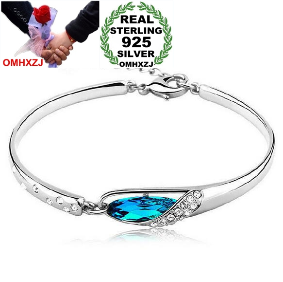 OMHXZJ Wholesale jewelry geometric woman fashion kpop star Crystal shoes 925 sterling silver adjustable Bangles SZ02