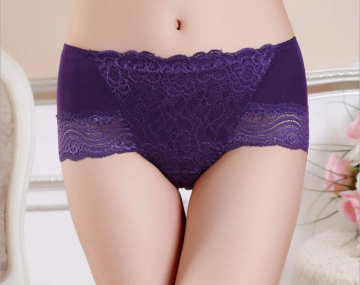 free shipping Women high waist panty Lady bamboo fiber underwear waist lace Size M L