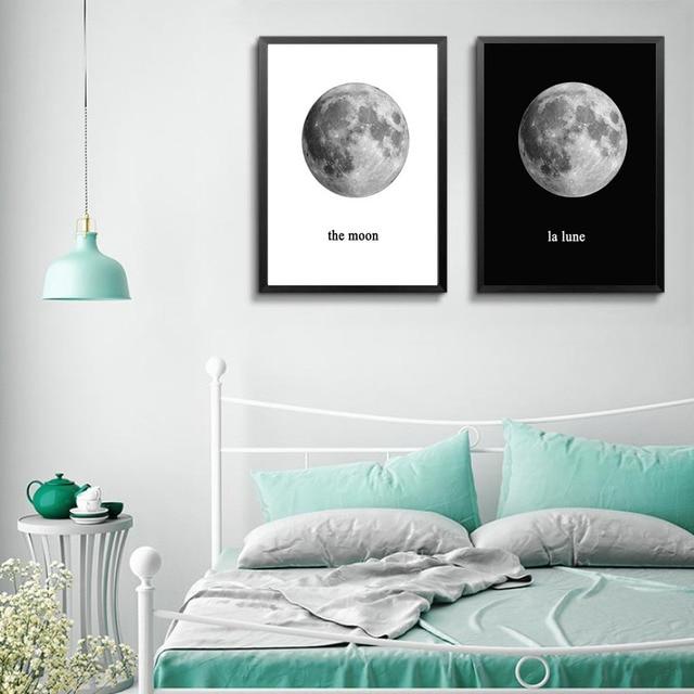 Schwarz Weiß Minimalistischen Die Mond Kunst Leinwand Drucke Poster Wand  Bild Gemälde Für Kinder Schlafzimmer Home