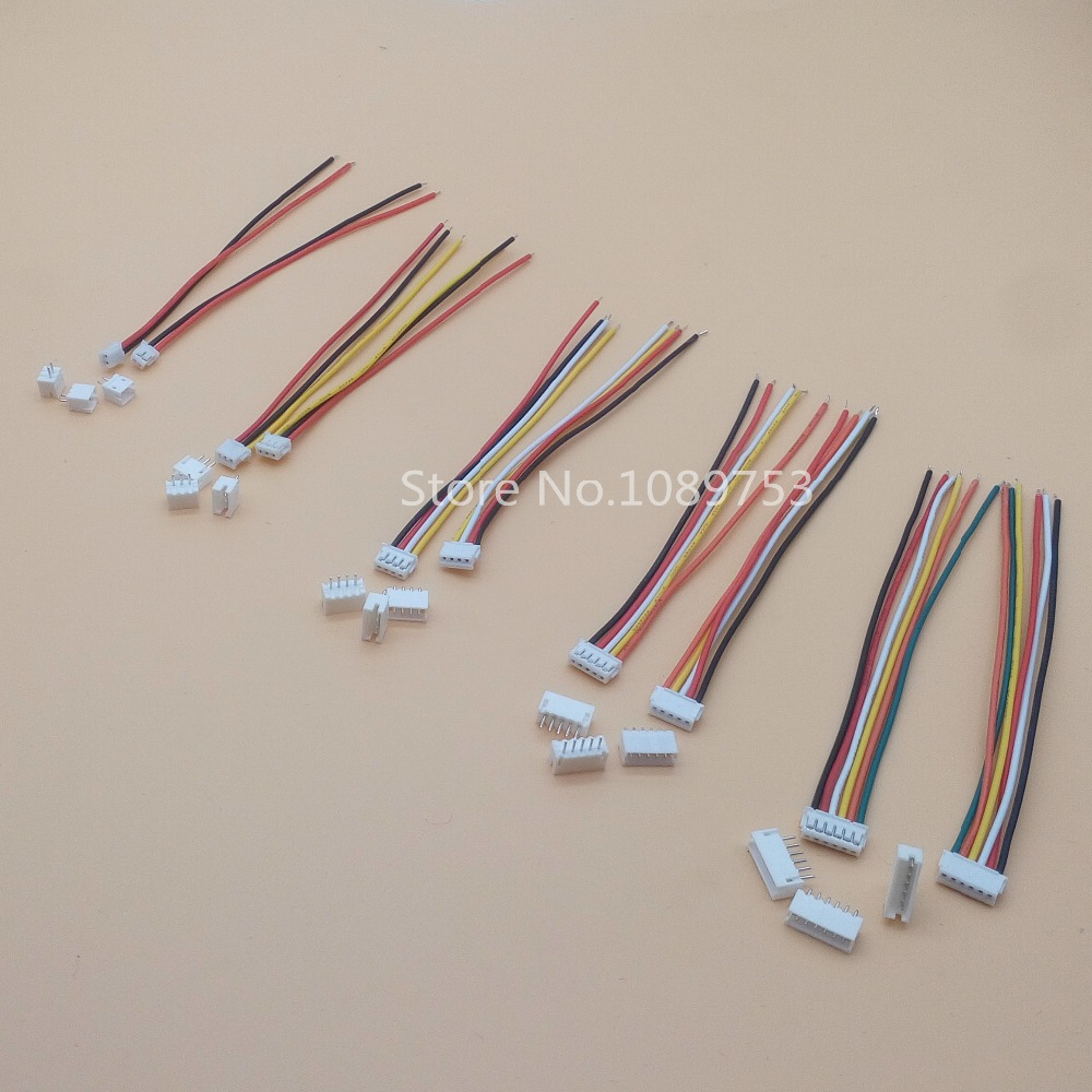 20 SETS Mini Micro ZH 1.5 2/3/4/5/6/7/8/9/10 Pin JST Connector with 100mm length Wires Cables