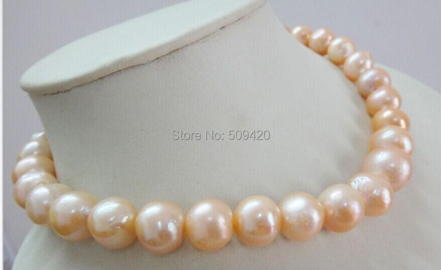 """W и O653 >> > огромный 1"""" 12- 13 мм природный южного моря подлинного золота розовый ядерной ожерелье перлы"""