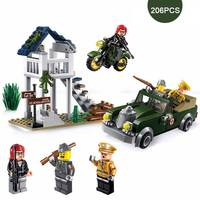 WW2 Military Special Task Scenes Army Motorcycle Vehicle Model Mini Military Officer Soldier Figures Building Block