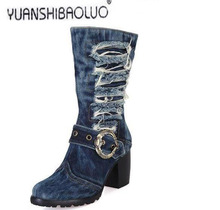 The European and American designer shoes qiu dong high-heeled boots denim thick with knight boots fashion sexy boots