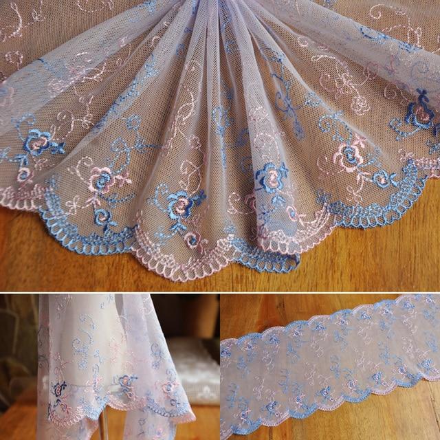 2016 New Fashion 22 100cm Embroidery Design Net Lace Fabric Tissu