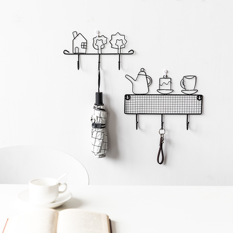 Euro American key rack decoration hook door wall creative wall iron art perforation free clothes rack in Home Office Storage from Home Garden