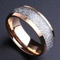 Alibaba-aliexpress 8 мм Куполом Розовое Золото Tungsten Ring with Метеорит Мужчины Инкрустация женщины Обручальное кольцо Большой Размер 8 10 11 12 13 14