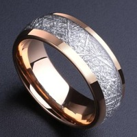 Alibaba Aliexpress 8mm Domed Rose Gold Tungsten Carbide Ring With Meteorite Inlay Men Women Wedding Band