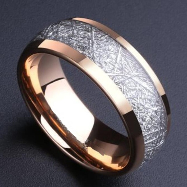 Alibaba Aliexpress 8mm Domed Rose Gold Color Tungsten Ring With Meteorite Inlay Men Women Wedding