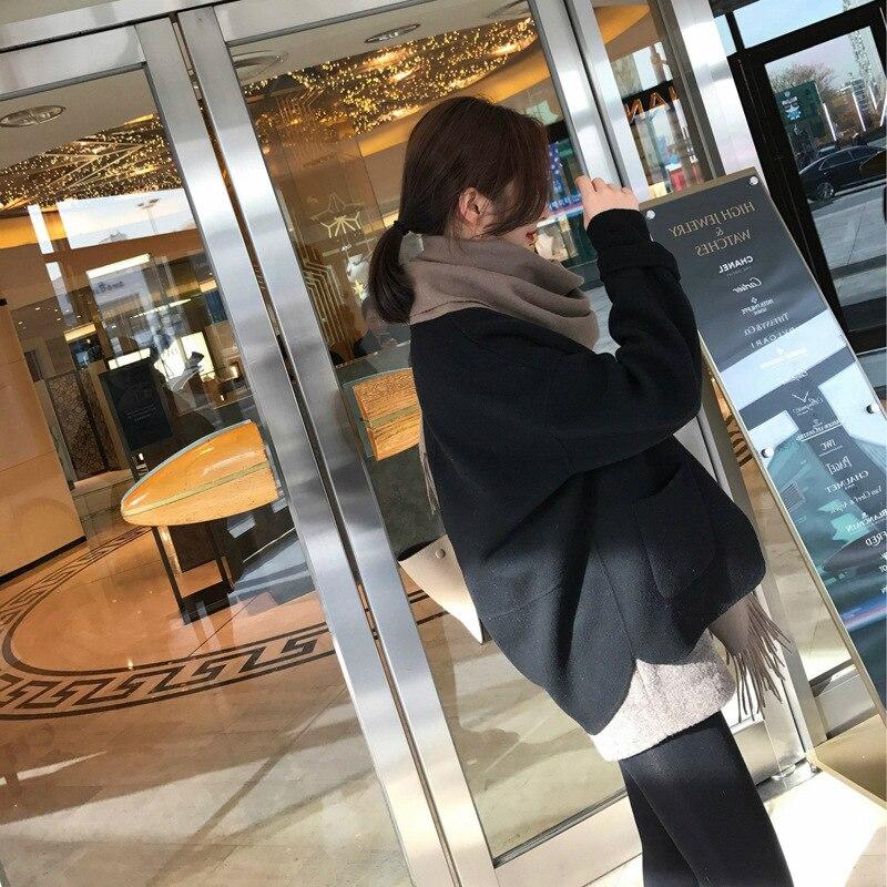 Poches Courtes Col Turn Lady D'hiver Office Lâche Manteau Solide Femmes Cachemire Seul De Veste Noir Laine Bouton down 2018 qZgSwE