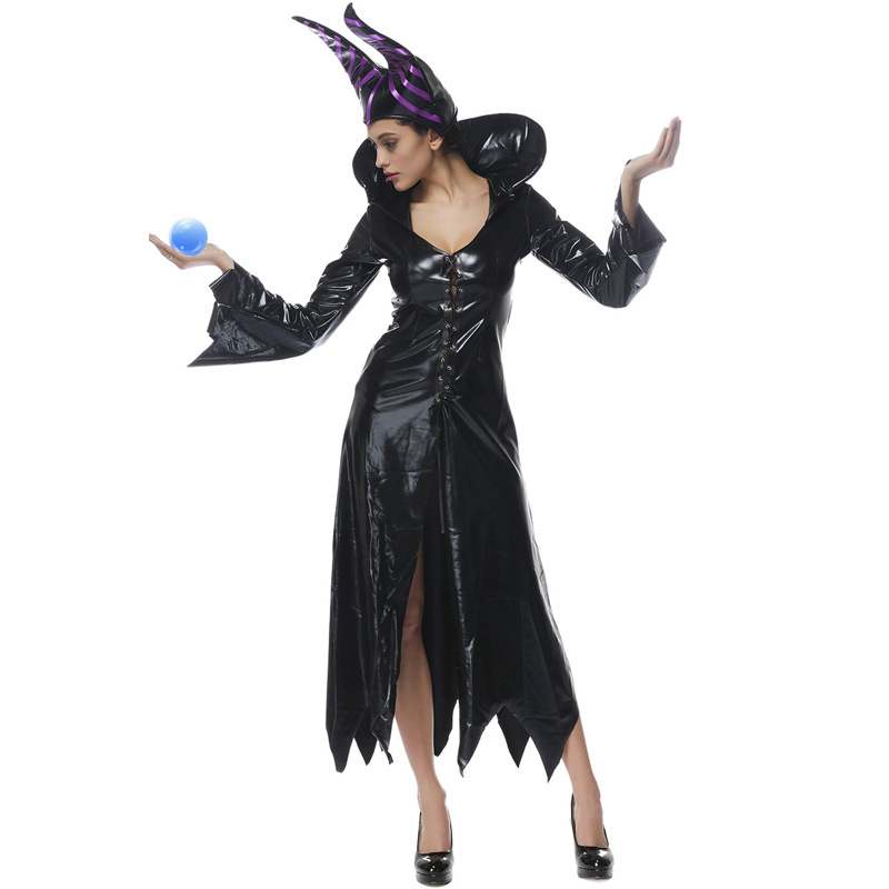 Free Shipping Adult Halloween Witch Costume For Women Sexy Fashion Deluxe Costume Evil Witch Dress With Black Witch Hat Carnival