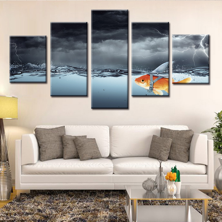 Factory wholesale Abstract fish poster Painting Custom Canvas Print On Canvas Printing Wall Pictures Home Decoration in Painting Calligraphy from Home Garden