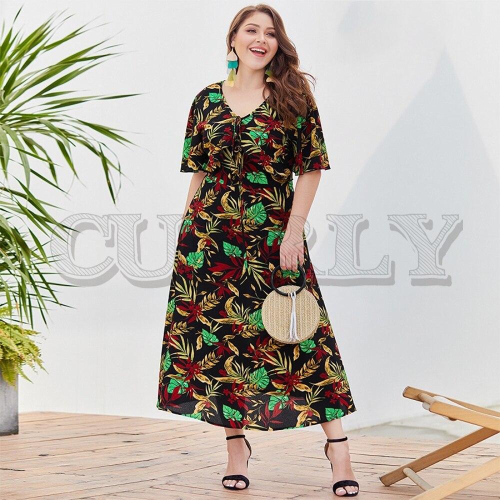 CUERLY Floral print boho long maxi women dress Summer short sleeve plus size dress Holiday female elegant beach vestidos 2019 in Dresses from Women 39 s Clothing